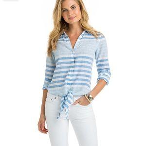 Vineyard Vines Stripe Tie Front Shirt Button Down